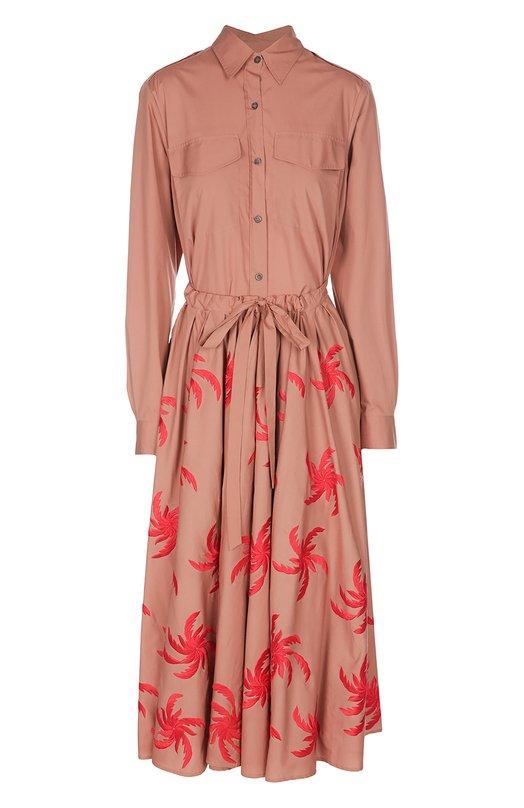 Приталенное платье-рубашка с двойной юбкой Dries Van NotenПлатья<br>Дрис Ван Нотен включил длинное платье-рубашку с двойным подолом в коллекцию сезона весна-лето 2016 года. Модель из гладкого плотного хлопка декорирована яркой вышивкой. Наши стилисты рекомендуют носить с черными босоножками и сумкой.<br><br>Российский размер RU: 44<br>Пол: Женский<br>Возраст: Взрослый<br>Размер производителя vendor: 40<br>Материал: Хлопок: 100%;<br>Цвет: Коралловый
