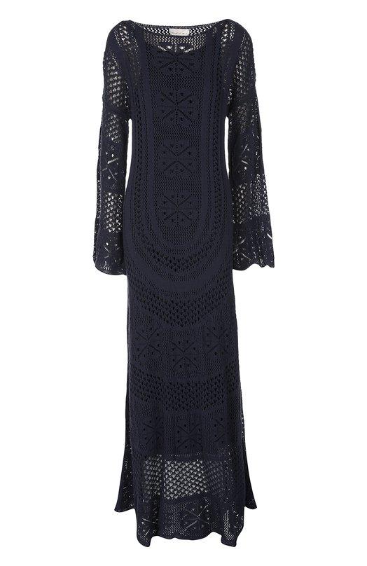 Вязаное платье в пол с расклешенными рукавами Chlo?Платья<br>Черное платье в пол, связанное из мягкой хлопковой пряжи с добавлением эластичных нитей, вошло в коллекцию сезона весна-лето 2016 года. Модель с расклешенными рукавами дополнена шелковой подкладкой в тон. Нам нравится сочетать с белыми босоножками и разноцветной сумкой.<br><br>Российский размер RU: 48<br>Пол: Женский<br>Возраст: Взрослый<br>Размер производителя vendor: L<br>Материал: Хлопок: 78%; Полиамид: 22%; Шелк: 100%;<br>Цвет: Темно-синий