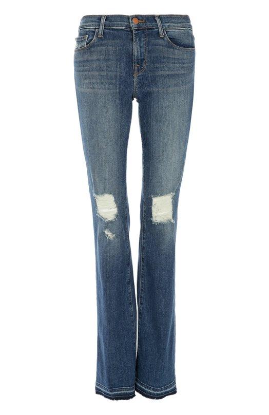 Расклешенные джинсы с потертостями J BrandДжинсы<br>В весенне-летнюю коллекцию 2016 года вошли джинсы клеш с потертостями. Модель выполнена из плотного хлопка с добавлением полиэстеровых и эластановых волокон, благодаря которым обеспечивается идеальная посадка по фигуре.<br><br>Российский размер RU: 48<br>Пол: Женский<br>Возраст: Взрослый<br>Размер производителя vendor: 30<br>Материал: Хлопок: 93%; Полиэстер: 5%; Эластан: 2%;<br>Цвет: Синий
