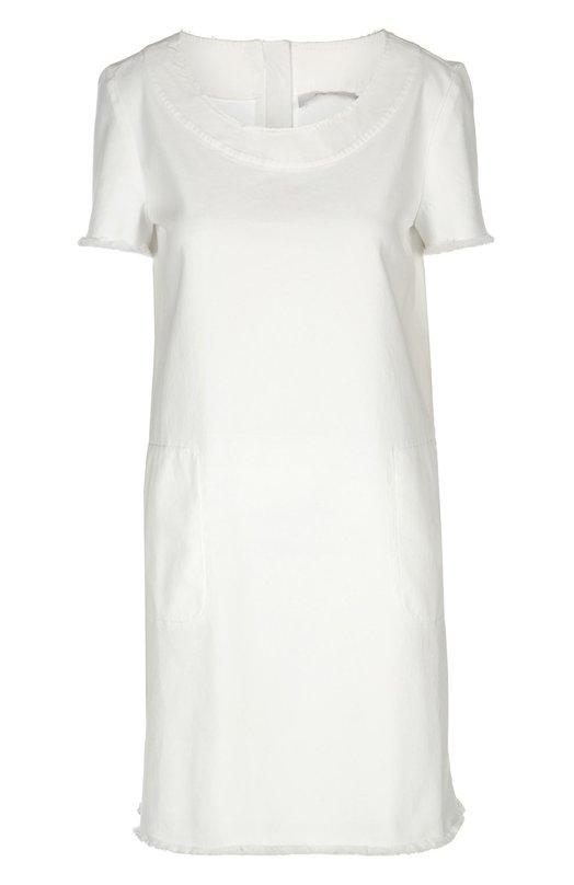 Прямое джинсовое платье с круглым вырезом и бахромой 7 For All Mankind SW4S650WI