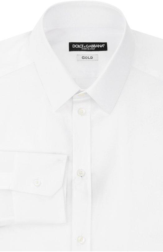 Хлопковая сорочка с воротником кент Dolce &amp; GabbanaРубашки<br>Рубашка с длинным рукавом, сшитая вручную, вошла в весенне-летнюю коллекцию бренда, основанного Доменико Дольче и Стефано Габбана. Для создания модели с воротником кент использован мягкий хлопок белого цвета. Рекомендуем сочетать с темным костюмом в полоску и светло-голубым галстуком.<br><br>Российский размер RU: 40<br>Пол: Мужской<br>Возраст: Взрослый<br>Размер производителя vendor: 40<br>Материал: Хлопок: 97%; Эластан: 3%;<br>Цвет: Белый
