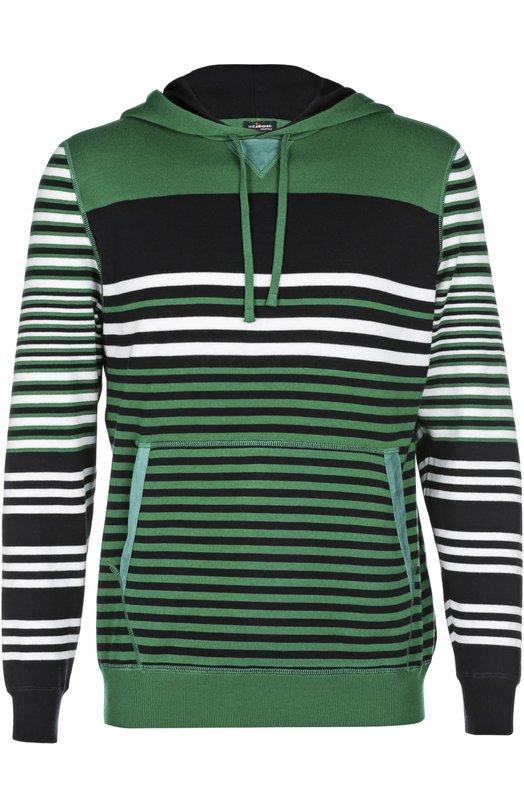 Хлопковый пуловер в полоску с карманом-кенгуру Kiton UK718E164