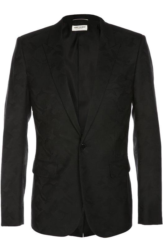Шерстяной пиджак с камуфляжным принтом Saint Laurent 416439/Y723L