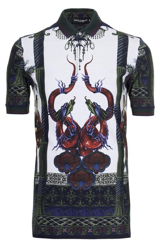 Хлопковое поло с принтом Dolce &amp; GabbanaПоло<br>В весенне-летнюю коллекцию марки, основанной Доменико Дольче и Стефано Габбана, вошло поло с короткими рукавами. Модель из мягкого хлопкового джерси украшена разноцветным принтом. Рубашка с отложным воротником и манжетами из плотного трикотажа застегивается на три пуговицы.<br><br>Российский размер RU: 56<br>Пол: Мужской<br>Возраст: Взрослый<br>Размер производителя vendor: 54<br>Материал: Хлопок: 100%;<br>Цвет: Зеленый