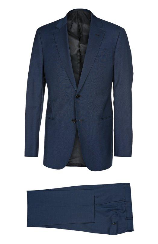 Шерстяной костюм с широкими лацканами Armani CollezioniКостюмы<br>Джорджио Армани включил в коллекцию сезона весна-лето 2016 года костюм из тонкой шерсти синего цвета, в тонкую темную полоску. Пиджак с широкими лацканами и тремя прорезными карманами дополнен зауженными брюками. Советуем носить с голубой рубашкой, ярким галстуком и коричневыми туфлями.<br><br>Российский размер RU: 54<br>Пол: Мужской<br>Возраст: Взрослый<br>Размер производителя vendor: 50-R<br>Материал: Шерсть: 100%; Подкладка-вискоза: 100%;<br>Цвет: Темно-синий