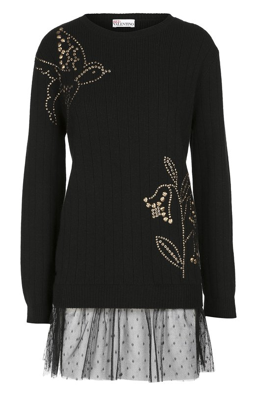 Удлиненный пуловер с кружевной отделкой и заклепками REDVALENTINOСвитеры<br>В осенне-зимнюю коллекцию бренда, основанного Валентино Гаравани, вошел черный удлиненный пуловер с оборкой из тюля пуэн-деспри. Модель из ультрамягкой смешанной пряжи на основе шерсти альпаки и кашемира украшена узорами, выложенными позолоченными заклепками.<br><br>Российский размер RU: 40<br>Пол: Женский<br>Возраст: Взрослый<br>Размер производителя vendor: XS<br>Материал: Шерсть альпака: 8%; Кашемир: 5%; Шерсть: 37%; Вискоза: 30%; Полиамид: 20%; Отделка-полиамид: 100%;<br>Цвет: Черный