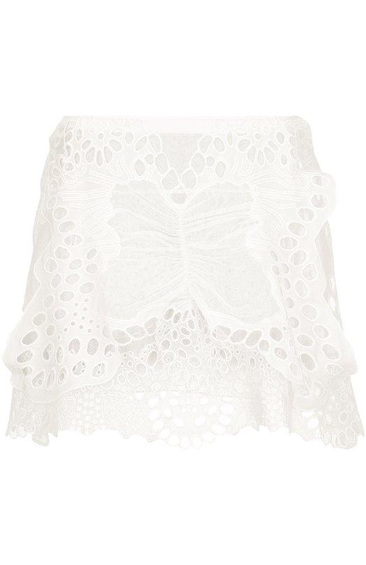 Кружевная мини-юбка с карманами Chlo?Юбки<br>Кружевная юбка из весенне-летней коллекции 2016 года декорирована объемной аппликацией в виде бабочки. Модель дополнена двумя задними накладными карманами. Наши стилисты рекомендуют сочетать с белой свободной блузой и коричневыми сандалиями на платформе.<br><br>Российский размер RU: 42<br>Пол: Женский<br>Возраст: Взрослый<br>Размер производителя vendor: 38<br>Материал: Подкладка-ацетат: 70%; Лен: 65%; Отделка-шелк: 50%; Отделка-хлопок: 50%; Лен: 35%; Хлопок: 35%; Полиамид: 35%; Подкладка-шелк: 30%; полиамид<br>Цвет: Белый
