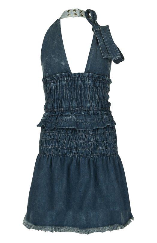 Джинсовое мини-платье на одной лямке Chlo?Платья<br>В коллекцию сезона весна-лето 2016 года вошло джинсовое мини-платье с V-образным вырезом и открытой спиной. Размер американской проймы регулируется кнопками на широких лямках. Рекомендуем носить с футболкой в полоску и шлепанцами.<br><br>Российский размер RU: 44<br>Пол: Женский<br>Возраст: Взрослый<br>Размер производителя vendor: 38<br>Материал: Хлопок: 100%;<br>Цвет: Синий