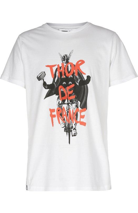 Хлопковая футболка с принтом DedicatedФутболки<br>Модель с каламбурным названием Thor de France украшена принтом, изображающим скандинавского бога Тора на велосипеде. Футболка с коротким рукавом и круглым вырезом, выполненная из мягкого органического хлопка белого цвета, вошла в коллекцию сезона весна-лето 2016 года.<br><br>Российский размер RU: 54<br>Пол: Мужской<br>Возраст: Взрослый<br>Размер производителя vendor: XXL<br>Материал: Хлопок: 100%;<br>Цвет: Белый