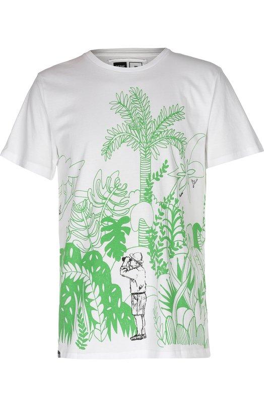 Хлопковая футболка с двухсторонним принтом DedicatedФутболки<br>Белая футболка Safari из весенне-летней коллекции 2016 года декорирована контрастным принтом с изображением джунглей, охотника и пантеры. Для производства модели с коротким рукавом и круглым вырезом мастера марки использовали мягкий органический хлопок.<br><br>Российский размер RU: 46<br>Пол: Мужской<br>Возраст: Взрослый<br>Размер производителя vendor: S<br>Материал: Хлопок: 100%;<br>Цвет: Белый