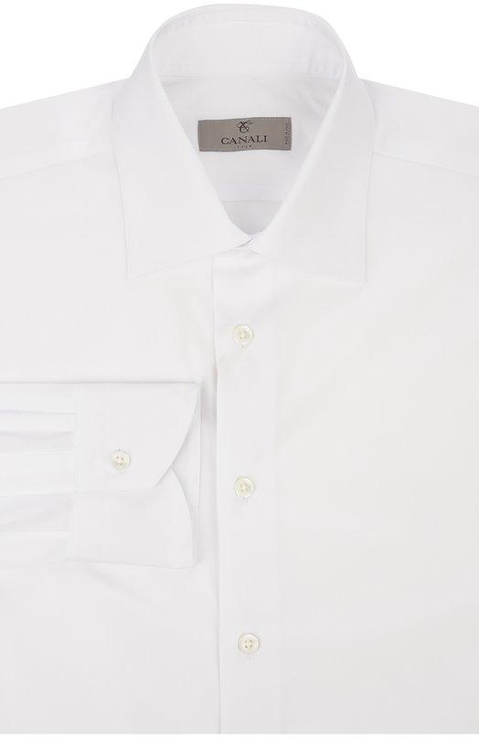 Купить Хлопковая сорочка с итальянским воротником Canali, GA60130/710, Италия, Белый, Хлопок: 100%;