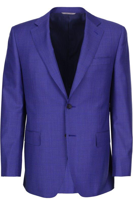 Костюм в клетку Prince of Wales CanaliКостюмы<br>Синий костюм в клетку Prince of Wales состоит из однобортного пиджака и брюк прямого кроя. Модель вошла в весенне-летнюю коллекцию 2016 года. Пиджак дополнен двумя боковыми карманами с клапанами и одним прорезным — на груди.<br><br>Российский размер RU: 56<br>Пол: Мужской<br>Возраст: Взрослый<br>Размер производителя vendor: 52-C<br>Материал: Подкладка-купра: 100%; Шерсть: 100%;<br>Цвет: Ультрамарин