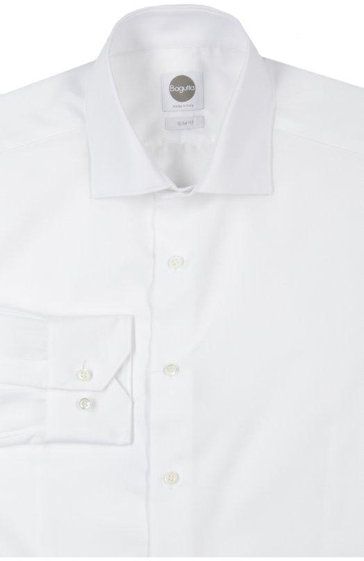Купить Хлопковая приталенная сорочка с воротником акула Bagutta, B145L/02418, Италия, Белый, Хлопок: 100%;