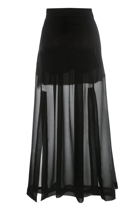 Полупрозрачная шелковая юбка с разрезами Isabel BenenatoЮбки<br><br><br>Российский размер RU: 42<br>Пол: Женский<br>Возраст: Взрослый<br>Размер производителя vendor: 40<br>Материал: Шелк: 100%;<br>Цвет: Черный