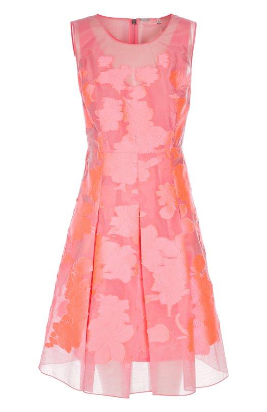 Приталенное платье с цветочной вышивкой и круглым вырезом Elie Tahari E305P606