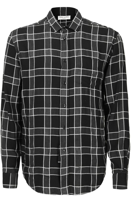 Рубашка в клетку свободного кроя Saint LaurentРубашки<br>Черная рубашка выполнена мастерами бренда, основанного Ивом Сен-Лораном, из эластичного черного тенсела в клетку. Изделие с длинными рукавами и воротником кент вошло в весенне-летнюю коллекцию 2016 года. Попробуйте сочетать с косухой, джинсами и кедами.<br><br>Российский размер RU: 42<br>Пол: Мужской<br>Возраст: Взрослый<br>Размер производителя vendor: 42<br>Материал: Тенсел: 61%; Вискоза: 39%;<br>Цвет: Черный