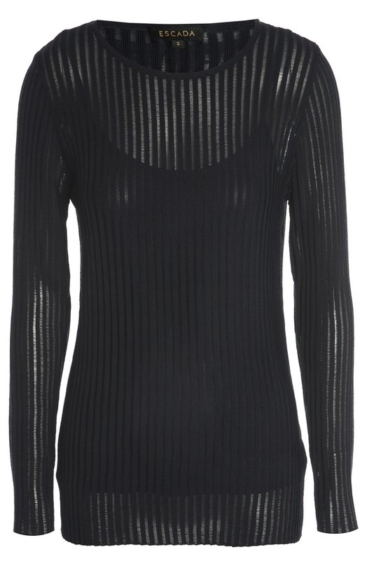 Полупрозрачный пуловер фактурной вязки с круглым вырезом EscadaСвитеры<br>Полупрозрачный пуловер черного цвета вошел в коллекцию сезона осень-зима 2016 года. Модель с круглым вырезом и с длинным рукавом сшита из тонкого трикотажа. В комплекте – подкладка в виде майки. Нам нравится сочетать с белой юбкой и темными босоножками.<br><br>Российский размер RU: 40<br>Пол: Женский<br>Возраст: Взрослый<br>Размер производителя vendor: XS<br>Материал: Ацетат: 65%; Вискоза: 53%; Хлопок: 47%; Полиамид: 35%;<br>Цвет: Темно-синий