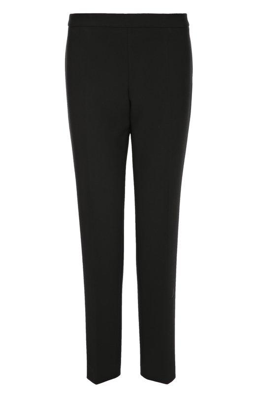 Укороченные прямые брюки со стрелками HUGO BOSS Black LabelБрюки<br>Укороченные черные брюки прямого кроя, со стрелками вошли в весенне-летнюю коллекцию бренда, основанного Хуго Фердинандом Боссом. Модель с классической посадкой на талии сшита из гладкого текстиля. Нам нравится сочетать с топом, удлиненным кардиганом, сандалиями и небольшой сумкой.<br><br>Российский размер RU: 44<br>Пол: Женский<br>Возраст: Взрослый<br>Размер производителя vendor: 36<br>Материал: Полиэстер: 63%; Вискоза: 27%; Хлопок: 7%; Эластан: 3%;<br>Цвет: Черный