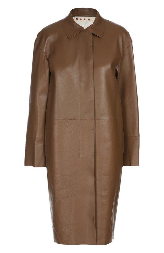 Кожаное пальто прямого кроя с отложным воротником Marni SPMXT15Y00LA334