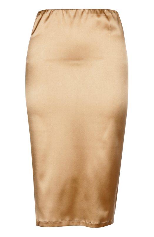 Шелковая юбка-карандаш с эластичным ремнем La PerlaЮбки<br>В коллекцию сезона весна-лето 2016 года вошла юбка-карандаш с вшитой в пояс резинкой. Мастера марки выполнили изделие из плотной шелковой ткани с эластановыми волокнами, благодаря которым модель плотно облегает фигуру.<br><br>Российский размер RU: 44<br>Пол: Женский<br>Возраст: Взрослый<br>Размер производителя vendor: 3<br>Материал: Шелк: 94%; Эластан: 6%;<br>Цвет: Бежевый