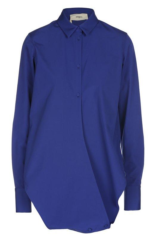Хлопковая блуза асимметричного кроя Ports 1961Блузы<br>Блуза с длинными рукавами и отложным воротником вошла в коллекцию сезона весна-лето 2016 года. Модель изготовлена из гладкого тонкого хлопка синего цвета. Асимметричные полочки застегиваются на пуговицы сверху и на подоле спереди.<br><br>Российский размер RU: 40<br>Пол: Женский<br>Возраст: Взрослый<br>Размер производителя vendor: 38<br>Материал: Хлопок: 100%;<br>Цвет: Синий