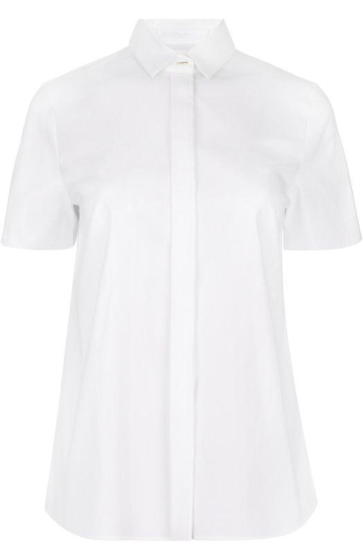 Блуза прямого кроя с укороченным рукавом BOSSБлузы<br>Белая блуза Bonara с коротким рукавом вошла в весенне-летнюю коллекцию бренда, основанного Хуго Фердинандом Боссом. Модель с отложным воротником сшита из плотного гладкого хлопка с добавлением эластичных нитей. Изделие прямого кроя застегивается на потайные пуговицы.<br><br>Российский размер RU: 40<br>Пол: Женский<br>Возраст: Взрослый<br>Размер производителя vendor: 32<br>Материал: Хлопок: 63%; Полиэстер: 37%;<br>Цвет: Белый