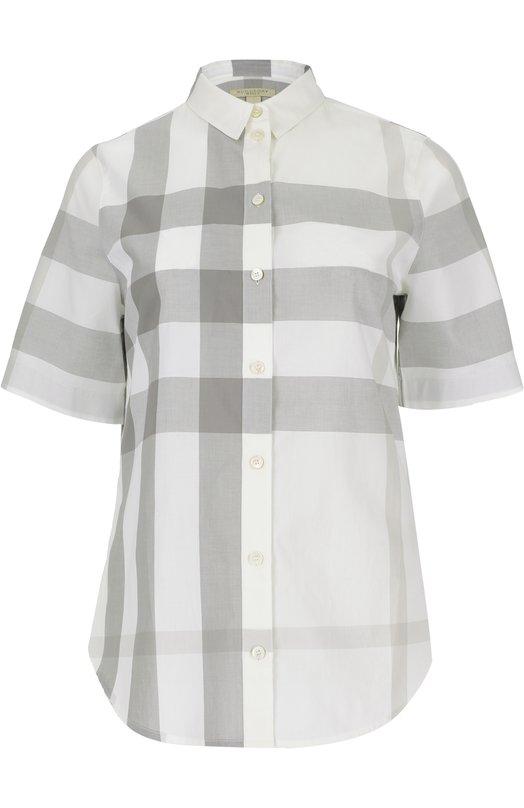 Блуза прямого кроя в клетку с укороченным рукавом Burberry 4021243
