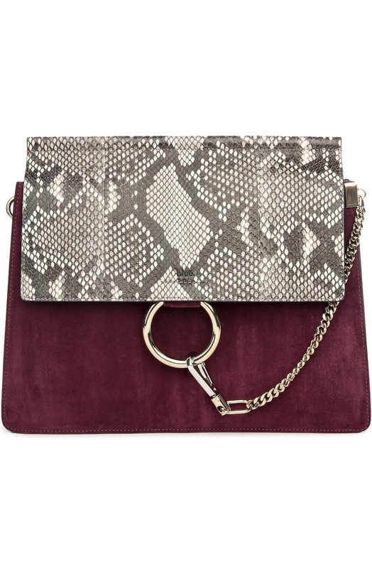 Замшевая сумка Faye с отделкой из кожи питона Chloe 3S1126/H8V