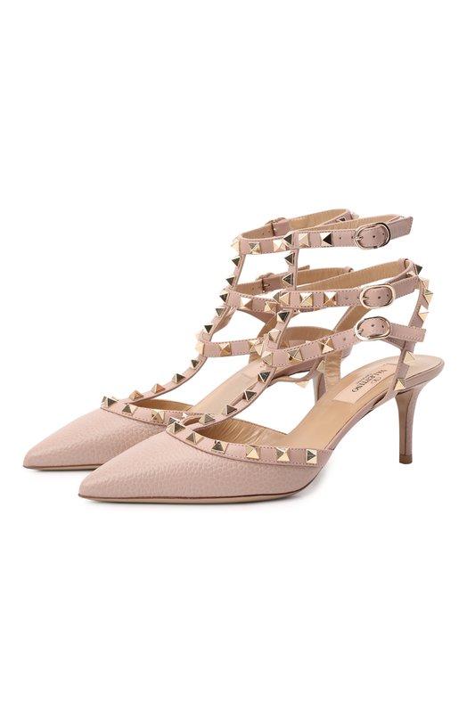 Купить Кожаные туфли Valentino Garavani Rockstud на шпильке Valentino, LW1S0375/VCE, Италия, Бежевый, Кожа натуральная: 100%; Стелька-кожа: 100%; Подошва-кожа: 100%;