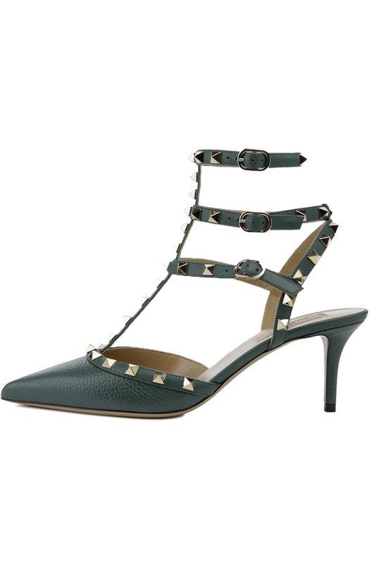 Кожаные туфли Rockstud на шпильке ValentinoТуфли<br>Зеленые туфли Rockstud из мягкой зерненой кожи вошли в осенне-зимнюю коллекцию 2016 года. Модель на невысоком каблуке декорирована шипами-пирамидами, характерными для обуви бренда, основанного Валентино Гаравани. Модель без задника фиксируется на стопе и щиколотке тремя ремнями с пряжками.<br><br>Российский размер RU: 37<br>Пол: Женский<br>Возраст: Взрослый<br>Размер производителя vendor: 37-5<br>Материал: Кожа натуральная: 100%; Стелька-кожа: 100%; Подошва-кожа: 100%;<br>Цвет: Изумрудный