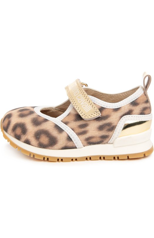 Текстильные кроссовки с принтом и застежкой велькро Roberto CavalliКеды<br>Роберто Кавалли включил кроссовки на двухцветной подошве с протектором в весенне-летнюю  коллекцию 2016 года. Модель с круглым мысом, сшитая из прочного текстиля с леопардовым принтом, украшена кантом из кожи белого цвета. Обувь фиксируется на ноге золотистым кожаным ремешком с застежкой велькро.<br><br>Российский размер RU: 22<br>Пол: Женский<br>Возраст: Детский<br>Размер производителя vendor: 22<br>Материал: Кожа натуральная: 100%; Стелька-кожа: 100%; Подошва-резина: 100%; Текстиль: 100%;<br>Цвет: Леопардовый