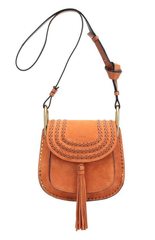 Замшевая сумка Hudson small с плетением и металлическим декором Chloe 3S1219/H67