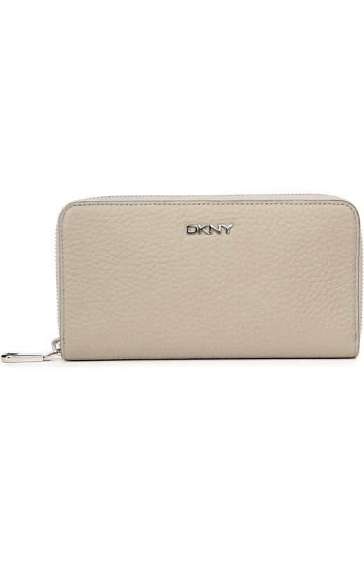 Кожаное портмоне на молнии с логотипом бренда DKNY R1622307