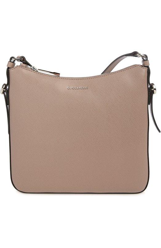 Кожаный мессенджер с логотипом бренда CoccinelleЖенские сумки<br><br><br>Пол: Женский<br>Возраст: Взрослый<br>Размер производителя vendor: NS<br>Материал: Кожа натуральная: 100%;<br>Цвет: Светло-коричневый