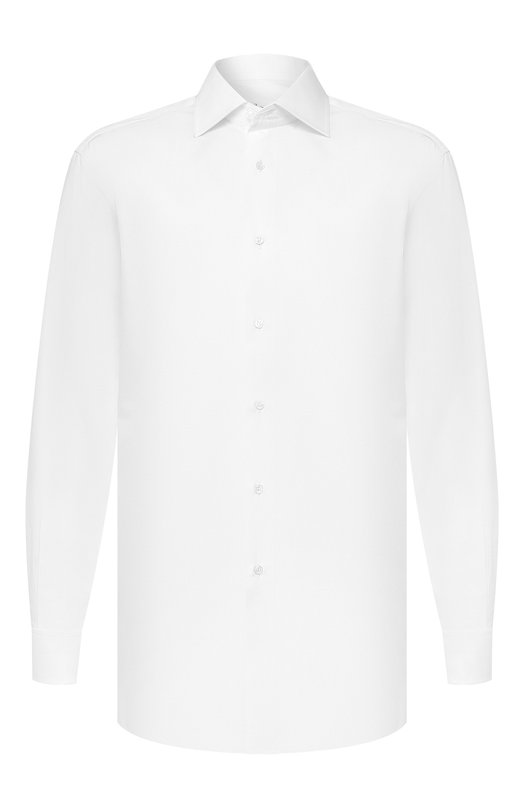 Сорочка с воротником кент и французскими манжетами BrioniРубашки<br>Белая сорочка с воротником кент, длинными рукавами и французскими манжетами вошла в коллекцию сезона осень-зима 2016 года. Модель сшита вручную из тонкого хлопка поплина. Наши стилисты рекомендуют сочетать с темным костюмом в полоску, серым галстуком и коричневыми двойными монками.<br><br>Российский размер RU: 40<br>Пол: Мужской<br>Возраст: Взрослый<br>Размер производителя vendor: 40<br>Материал: Хлопок: 100%;<br>Цвет: Белый