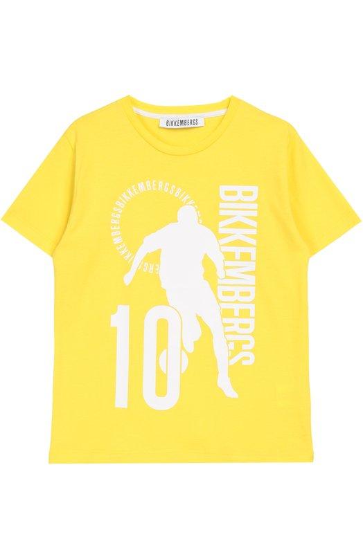 Хлопковая футболка с принтом Dirk BikkembergsФутболки<br>Дирк Биккембергс включил в коллекцию сезона весна-лето 2016 года футболку с круглым вырезом и короткими рукавами. Модель из мягкого хлопкового джерси желтого цвета украшена белым печатным принтом в виде логотипа марки.<br><br>Российский размер RU: 38<br>Пол: Мужской<br>Возраст: Детский<br>Размер производителя vendor: 10A<br>Материал: Хлопок: 100%;<br>Цвет: Желтый