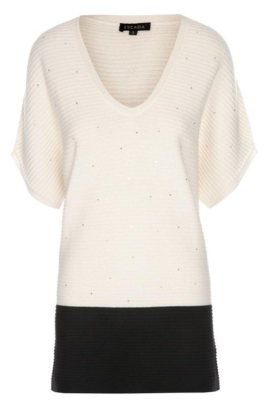 Удлиненный пуловер фактурной вязки с пайетками EscadaСвитеры<br>Удлиненный пуловер с короткими цельнокроеными рукавами, V-образным вырезом изготовлен из фактурного шерстяного трикотажа. Модель из осенне-зимней коллекции 2016 года декорирована пайетками. Попробуйте сочетать со светлыми брюками и темными сандалиями.<br><br>Российский размер RU: 48<br>Пол: Женский<br>Возраст: Взрослый<br>Размер производителя vendor: L<br>Материал: Шерсть: 75%; Шелк: 15%; Кашемир: 10%;<br>Цвет: Черно-белый
