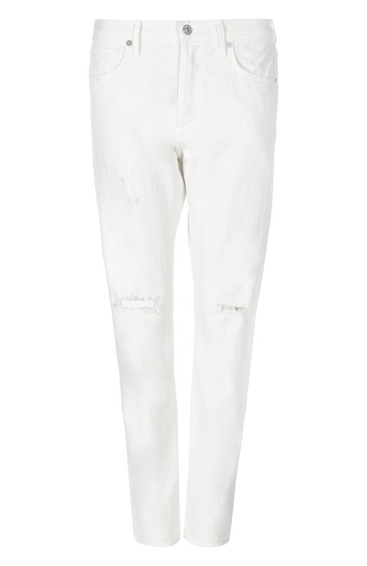 Джинсы Citizens Of HumanityДжинсы<br>Мастера марки сшили джинсы силуэта slim fit, с классической посадкой на талии из мягкого и плотного хлопка белого цвета. Модель из коллекции сезона осень-зима 2016 года декорирована потертостями на коленях и карманах. Наши стилисты советуют носить с серым шелковым топом и светлыми кроссовками.<br><br>Российский размер RU: 46<br>Пол: Женский<br>Возраст: Взрослый<br>Размер производителя vendor: 28<br>Материал: Хлопок: 100%;<br>Цвет: Белый