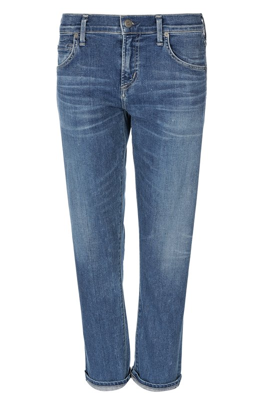 Джинсы Citizens Of HumanityДжинсы<br>В коллекцию сезона осень-зима 2016 года вошли джинсы с классической посадкой на талии. Укороченная прямая модель с небольшими потертостями на швах сшита из плотного хлопка синего цвета. Наши стилисты предлагают сочетать с контрастным полосатым лонгсливом и белыми кроссовками.<br><br>Российский размер RU: 40<br>Пол: Женский<br>Возраст: Взрослый<br>Размер производителя vendor: 25<br>Материал: Хлопок: 91%; Эластомультиэстер: 8%; Спандекс: 1%;<br>Цвет: Синий