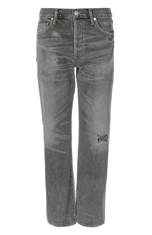 Джинсы Citizens Of HumanityДжинсы<br>Прямые укороченные джинсы с классической посадкой на талии изготовлены из плотного серого хлопка. Модель из коллекции сезона осень-зима 2016 года декорирована потертостями. Наши стилисты советуют носить с белым пуловером и черными полусапогами.<br><br>Российский размер RU: 46<br>Пол: Женский<br>Возраст: Взрослый<br>Размер производителя vendor: 28<br>Материал: Хлопок: 100%;<br>Цвет: Серый