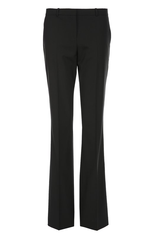 Расклешенные брюки со стрелками BOSSБрюки<br>Черные расклешенные брюки со стрелками вошли в классическую коллекцию бренда, основанного Хуго Фердинандом Боссом. Модель Tulea с двумя боковыми карманами произведена из мягкой шерсти стрейч. Попробуйте носить с белой рубашкой, темным жакетом и черными туфлями на шпильке.<br><br>Российский размер RU: 50<br>Пол: Женский<br>Возраст: Взрослый<br>Размер производителя vendor: 42<br>Материал: Шерсть: 96%; Эластан: 4%;<br>Цвет: Черный