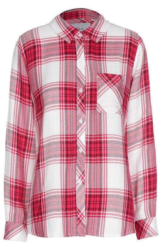Блуза прямого кроя в клетку с накладным карманом RailsБлузы<br>Для создания блузы с длинным рукавом, дополненной нагрудным карманом, использована мягкая белая вискоза в крупную клетку. Модель прямого кроя, вошедшая в весенне-летнюю коллекцию 2016 года, застегивается на белые пуговицы. Советуем сочетать с потертыми джинсами и белыми слипонами.<br><br>Российский размер RU: 42<br>Пол: Женский<br>Возраст: Взрослый<br>Размер производителя vendor: S<br>Материал: Вискоза: 100%;<br>Цвет: Малиновый