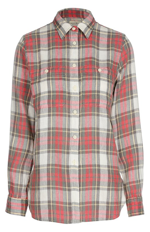 Блуза прямого кроя в клетку в накладными карманами Denim&amp;Supply by Ralph LaurenБлузы<br>Для создания модели с длинным рукавом, дополненной двумя нагрудными карманами, использован мягкий лен с добавлением хлопка. Ральф Лорен включил блуза в красно-серую клетку в осенне-зимнюю коллекцию 2016 года. Рекомендуем носить с голубыми джинсовыми шортами и белыми кедами.<br><br>Российский размер RU: 44<br>Пол: Женский<br>Возраст: Взрослый<br>Размер производителя vendor: M<br>Материал: Лен: 58%; Хлопок: 42%;<br>Цвет: Красный