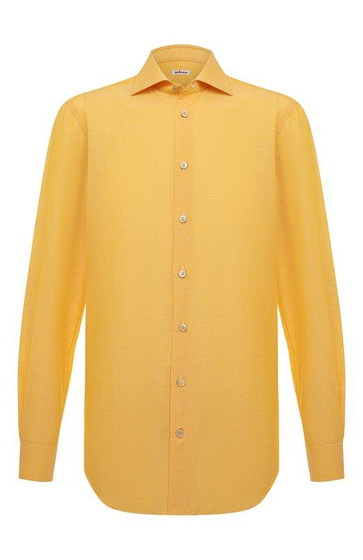 Сорочка из смеси хлопка со льном Kiton UCID/H003609
