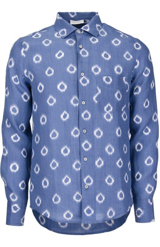 Рубашка с принтом и нагрудным карманом CapobiancoРубашки<br>Темно-синяя рубашка с накладным карманом и воротником кент вошла в коллекцию сезона весна-лето 2016 года. Модель произведена из прочной невыцветающей ткани рами с белым принтом. Нам нравится носить с белыми шортами и темной обувью.<br><br>Российский размер RU: 41<br>Пол: Мужской<br>Возраст: Взрослый<br>Размер производителя vendor: 41<br>Материал: Рами: 100%;<br>Цвет: Васильковый