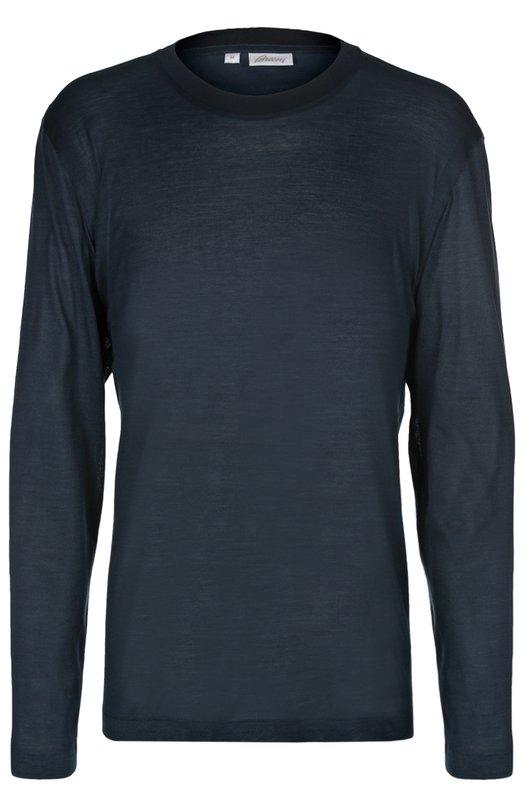 Лонгслив из смеси хлопка с шелком BrioniФутболки<br>В коллекцию сезона осень-зима 2016 года вошел облегающая футболка с длинным рукавом. Темно-синяя модель сшита из мягкого хлопка с добавлением волокон шелка. Нам нравится сочетать с кардиганом в тон, бордовыми брюками и черными дерби.<br><br>Российский размер RU: 48<br>Пол: Мужской<br>Возраст: Взрослый<br>Размер производителя vendor: M<br>Материал: Шелк: 50%; Хлопок: 50%;<br>Цвет: Морской волны