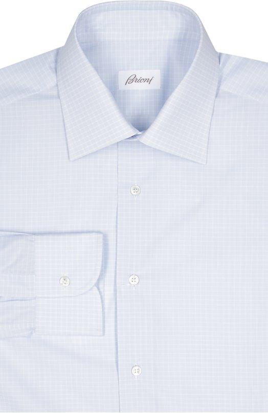 Хлопковая сорочка в клетку BrioniРубашки<br>Светло-голубая рубашка с воротником кент и длинным рукавами вошла в коллекцию сезона осень-зима 2016 года. Мастера марки сшили модель из тонкого хлопка к мелкую клетку. Нам нравится сочетать с серым костюмом и черными оксфордами.<br><br>Российский размер RU: 42<br>Пол: Мужской<br>Возраст: Взрослый<br>Размер производителя vendor: 42<br>Материал: Хлопок: 100%;<br>Цвет: Голубой