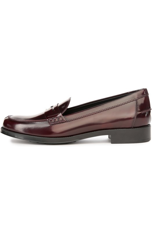 Кожаные лоферы Ivy Tod'sЛоферы<br>Стильные и необычные мужские туфли из натуральной кожи. Модель отличается лаковым напылением и минималистичным дизайном.<br><br>Российский размер RU: 38<br>Пол: Женский<br>Возраст: Взрослый<br>Размер производителя vendor: 38-5<br>Материал: Кожа натуральная: 100%; Стелька-кожа: 100%; Подошва-резина: 100%;<br>Цвет: Бордовый