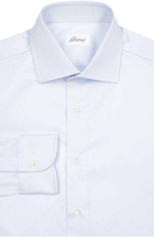 Сорочка из фактурного хлопка BrioniРубашки<br>Для производства рубашки был использован фактурный мягкий хлопок нежно-голубого цвета. Модель с воротником акула и манжетами итальянского типа вошла в коллекцию сезона осень-зима 2016 года. Рекомендуем сочетать со светлым костюмом, коричневыми монками светлым галстуком.<br><br>Российский размер RU: 50<br>Пол: Мужской<br>Возраст: Взрослый<br>Размер производителя vendor: 41<br>Материал: Хлопок: 100%;<br>Цвет: Голубой