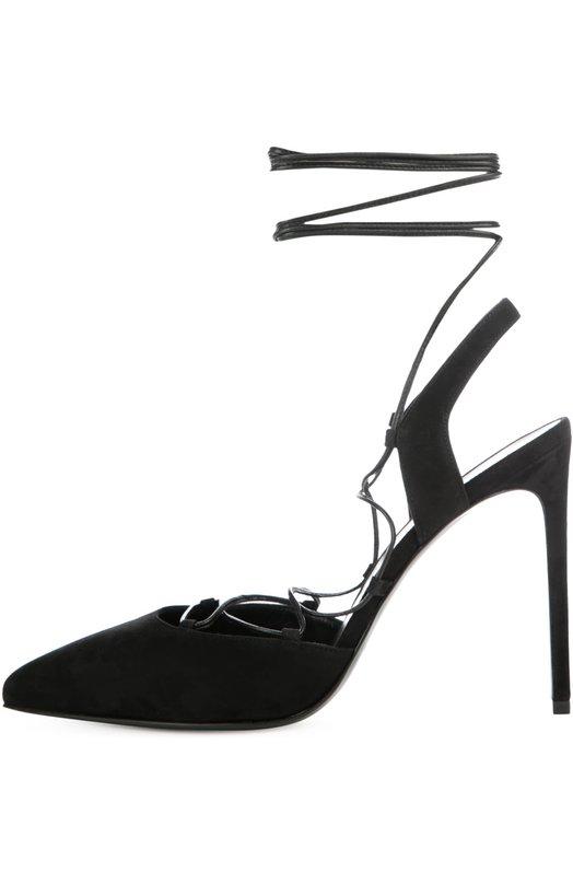 Замшевые туфли Paris Skinny на шнуровке Saint LaurentТуфли<br>Мастера марки, основанной Ивом Сен-Лораном, сшили туфли с зауженным мысом из мягкой черной замши. Модель на высокой шпильке вошла в коллекцию сезона весна-лето 2016 года. На ноге обувь фиксирует тонкий шнурок, продетый в петли на вырезе. Длины хватит, чтобы обернуть его вокруг голени несколько раз.<br><br>Российский размер RU: 38<br>Пол: Женский<br>Возраст: Взрослый<br>Размер производителя vendor: 38-5<br>Материал: Стелька-кожа: 100%; Подошва-кожа: 100%; Замша натуральная: 100%;<br>Цвет: Черный